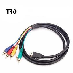 6FT HDMI to 5RCA Male Audio Video Component Convert Cable Fo